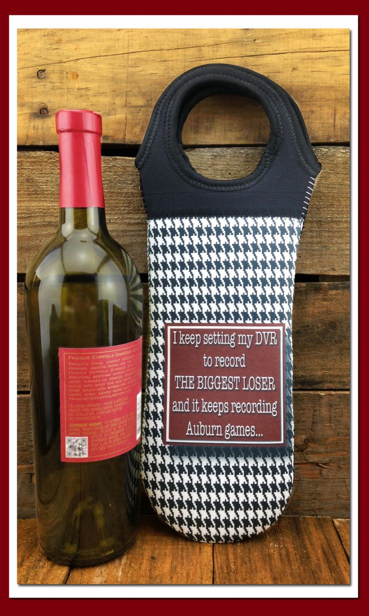 Wine Bottle Tote  I keep setting my DVR to record The Biggest Loser and it keeps recording Auburn games... by WhatsInANameCustomAr on Etsy
