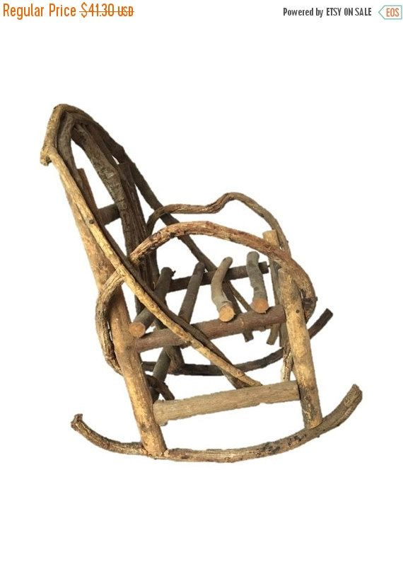 "Primitive Rustic Rocking Chair, Twig Bent Tree Branch Large Doll, Bear 12"" Rocking Chair Vintage Home Decor"