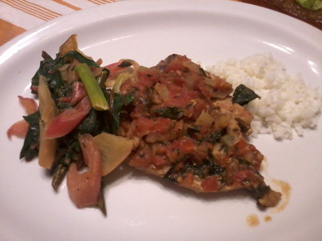 Pork Chop with rice, tomatoes a la toscana and Swiss Chard and Asparagus