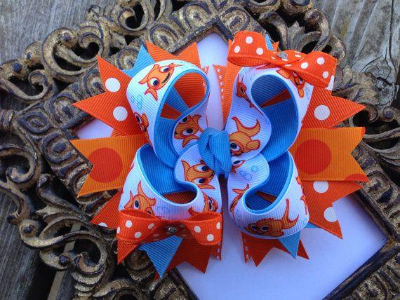 HAIRBOWS Orange and Light Blue Goldfish by BumbleBeeBowTeek, $6.50
