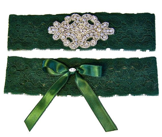 Forest Hunter Green Stretch Lace Wedding Garter By StylishBride 2795 Jen Antoniou Weddings And Events