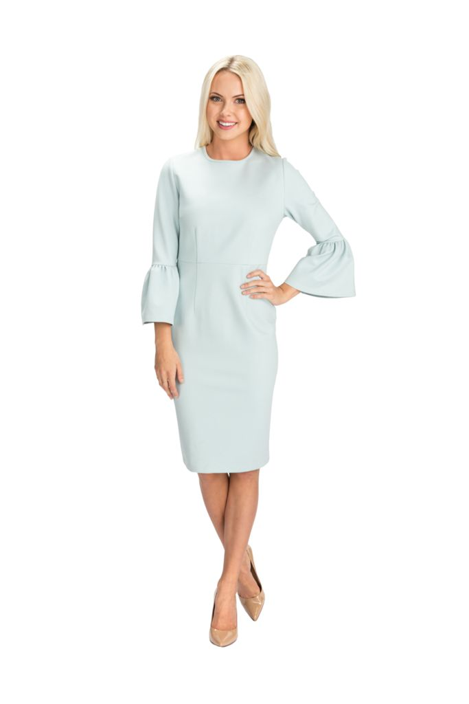 Serene Blue Bell Sleeve Dress