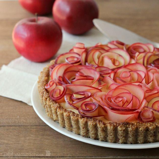 Apple Rose Tart with Maple Custard and Walnut Crust (Gluten Free