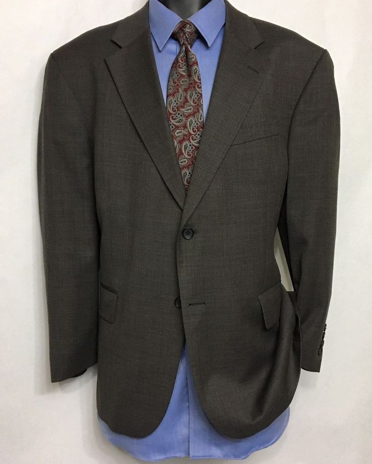 GEOFFREY BEENE Mens Gray Suit Jacket Size 46S | 100% Wool 2 Button Sport Coat #GeoffreyBeene #TwoButton