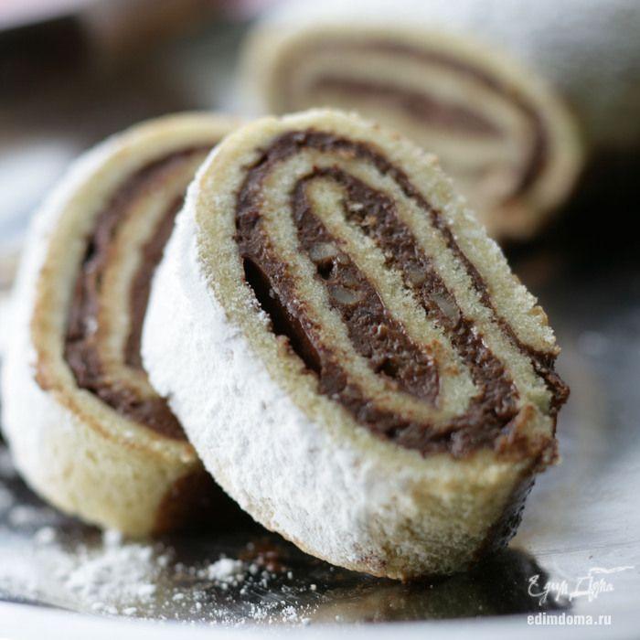 Рулет с шоколадным кремом - видеорецепт   Кулинарные рецепты от «Едим дома!»