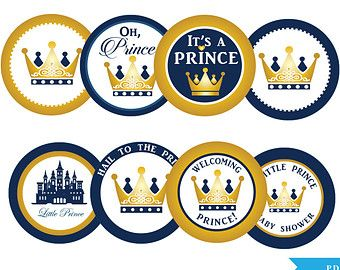 "Prince Cupcake Toppers Tags Baby Shower Printable DIY, 2"" circle toppers, It's a Prince, royal shower,crown, castle, blue gold - ao66bs0a"