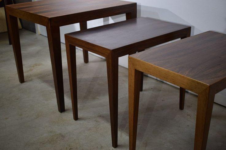 Three  Danish mid century rosewood tables by Severin Hansen, Haslev Møbelsnedker