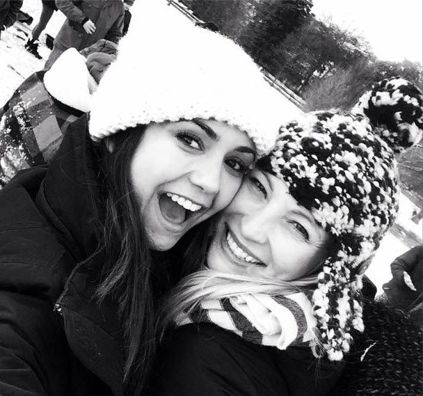 Vampire Diaries Stars Candice Accola and Nina Dobrev enjoying some uncommonly southern snow . :) January 2014