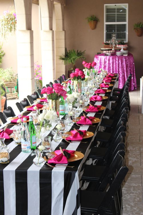 Black  white stripes, gold  hot pink accents Hot pink sequin - pink black and white weddings