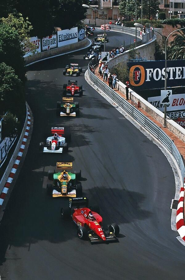 Out of Mirabeau into the Loews hairpin during the 1992 Monaco Grand Prix. Less than half the field would finish the race which was eventually won by Ayrton Senna in the McLaren-Honda.