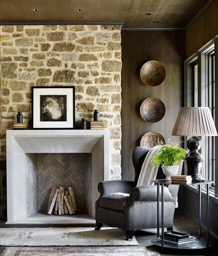 A natural stone fireplace with the surround is cool and angular. The  combination of these two elements creates a refined, modernized English  country sitting ... - 17+ Best Images About ~FIREPLACE SURROUND IDEAS~ On Pinterest