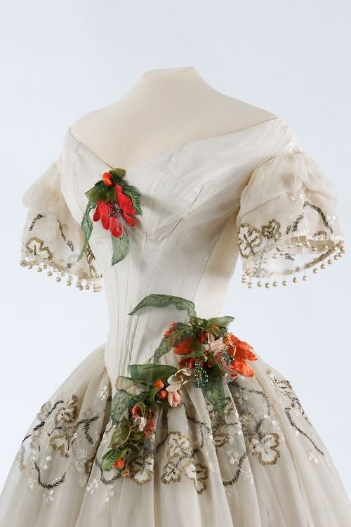 Evening dress, circa 1850, Hungarian, silk with silk embroidery. From the Museum of Applied Arts, Budapest.