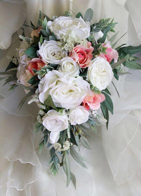 Teardrop Cascade Bridal Bouquet Wedding Flowers By LaPlumeDeFleur