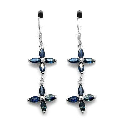 Genuine Blue Sapphire (16 stones) Sterling Silver Drop Earrings, Silver Sapphire Earrings Dangle Earrings
