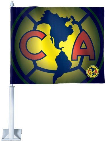 """Club America Car Flag by WinCraft. $19.99. Double sided. Perfect for the #1 fan. Made in USA. Washable. Vibrant Colors. Officially licensed Car Flag made with a durable knit polyester flag. Two sided imprint. The Car Flag is shaped and measures 10.75"""" high x 14"""" wide and is attached to a 20.5"""" long-lasting vinyl pole. Car flags make a great statement throughout the year."""