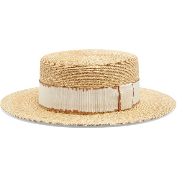 Filù Hats Cordoba wheat-straw hat (£280) ❤ liked on Polyvore featuring accessories, hats, beige, beige hat, wide brim straw hat, straw hat, rosebud hats and wide brim hat