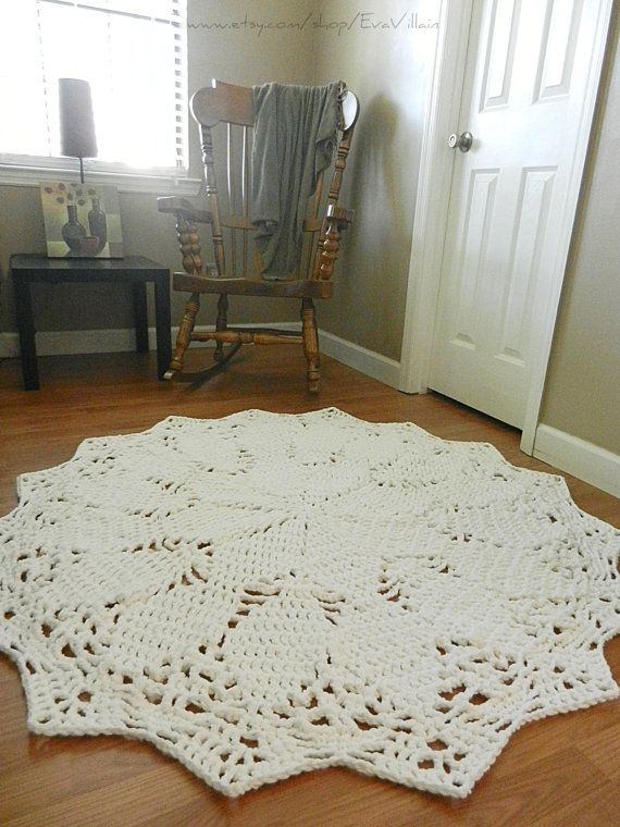 Giant Crochet Doily Rug- White Rug- Large area rug- Round Rug, Cottage Chic…