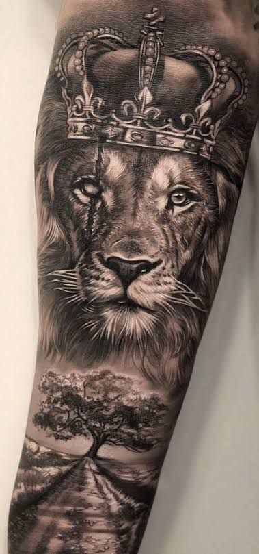Lion Forearm Tattoos, Lion Head Tattoos, Mens Lion Tattoo, Forarm Tattoos, Arm Tattoos For Guys, Forearm Tattoo Men, Tatoos, Animal Sleeve Tattoo, Lion Tattoo Sleeves