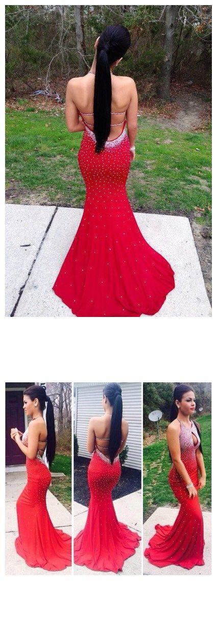 2016 prom dress, red mermaid beading backless prom dress, graduation dress, party dress, evening dress