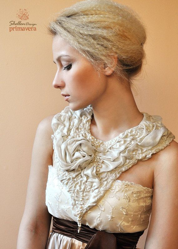 Hand+felted+nuno+Necklace+collar+Nude+Beige+Gold+++by+ShellenD,+$75.00