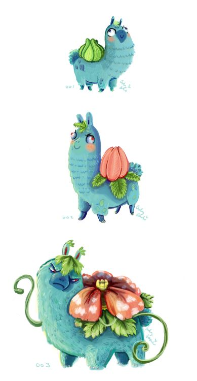 Alpacasaur! I decided to start drawing Pokemon as alpacas. Using the National Pokedex and working my way from 001 - 151; possibly more if I get the time. Here is Bulbasaur, Ivysaur and Venusaur!