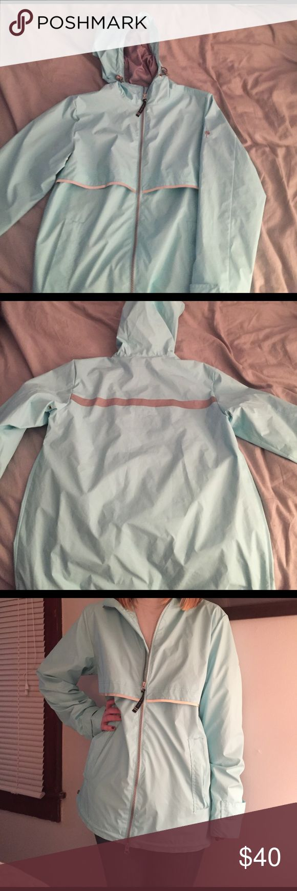 Tiffany blue rain jacket Super cute slightly oversized real rain jacket. These are adorable monogrammed! Only worn once, and selling because I have another rain jacket just like it! The first picture is just an example of what the jacket looks like, not the exact jacket or brand. Thanks for checking it out! Jackets & Coats