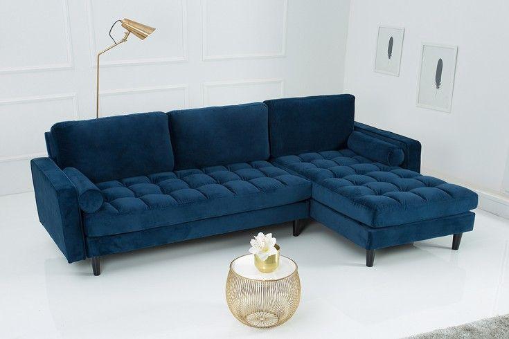 Elegantes Ecksofa Cozy Velvet 260cm Dunkelblau Samt Federkern 3er Sofa Riess Ambiente De Sofa Federkern Sofa Ecksofa