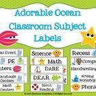 $1.50 - Classroom Subject Labels - These labels are very versatile and perfect for an ocean-themed classroom or anyone who likes adorable sea creatures!  Includes 27 labels for the f...