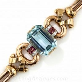 Tiffany & Co. Retro Aquamarine, Diamond and Ruby Bracelet  - Antique & Vintage Bracelets - Vintage Jewelry