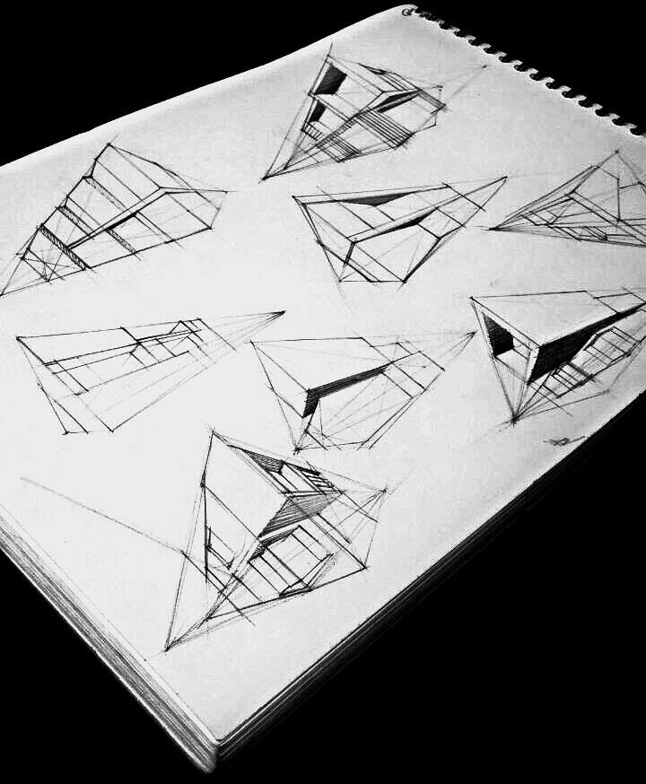 Sketches of a modern houses made on A4 paper with pen