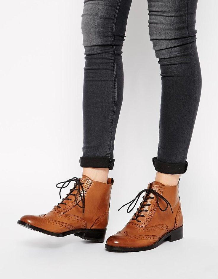 Bertie   Bertie Peron Brogue Flat Lace Up Boots at ASOS