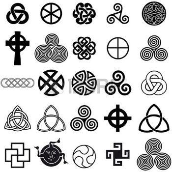 dessin celtique: Jeu de symboles celtique icônes vectorielles. Jeu de conception de tatouage.
