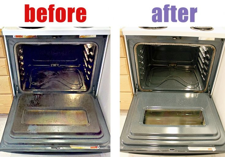 This is the same idea as the burner cleaner- heat oven to 150, put a cup of amonia in a large dish on the top rack and a (cheap) pan of boiling water on the bottom. Close the oven and let sit over night. Scrub it down with a scouring pad, rinse very well with warm water and a rag, and follow with miracle cleaner.