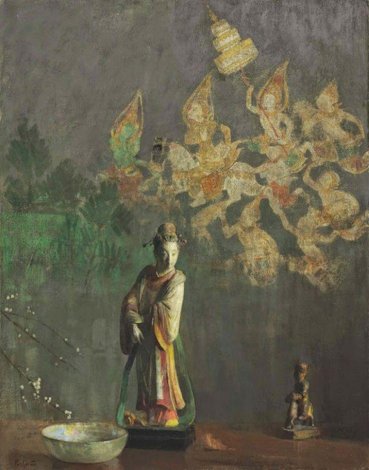Hovsep Pushman (1877-1966) Celestial Visitant oil on board 32 ¼ X 25 ¼ in