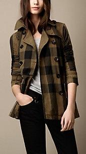 Short Cotton Linen Check Trench Coat