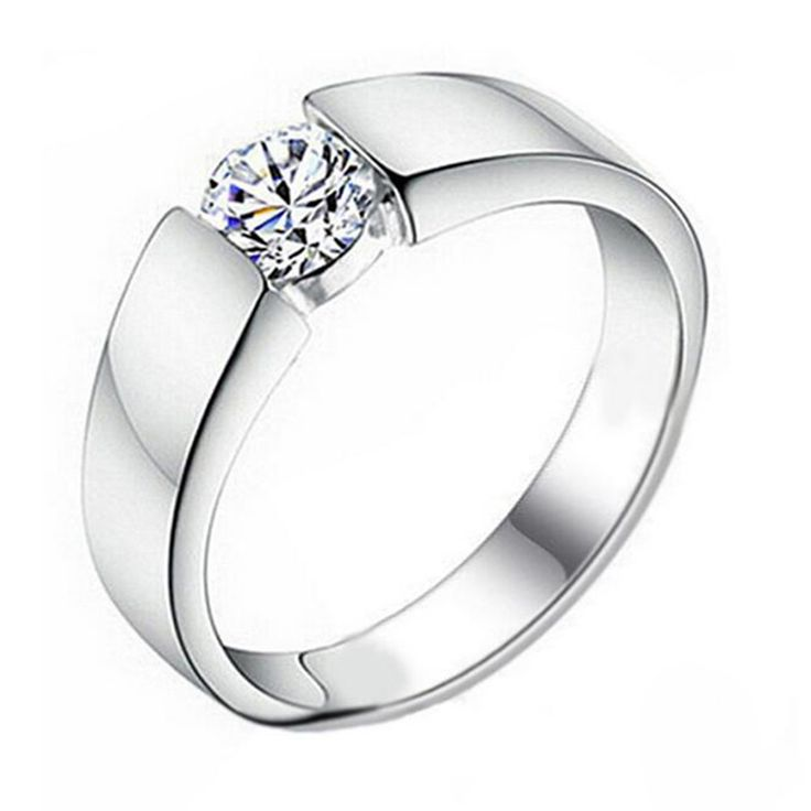 Fashion Accessories Simple Silver Plated Men Male Ring 925 Silver Jewelry Trendy Inlaid Crystal CZ  Engagement Ring RW1071