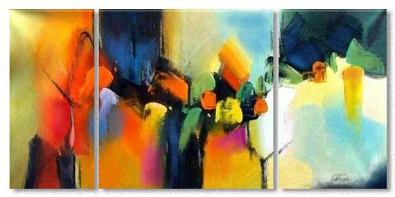 """Painting Wall Art Large Canvas Art Wall Deco Red,Acrylic Painting Abstract Landscape Canvas Modern  48"""" x 24"""" x 0,7"""" 3 panels MADE TO ORDER"""