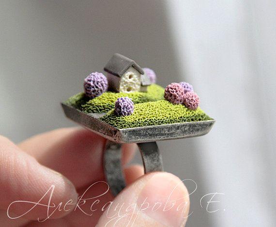 Maison bague - bague Accueil - polymère argile - paysage Home Sweet Home bijoux - vert lila - carré réglable anneau - ressort - arbres miniatures