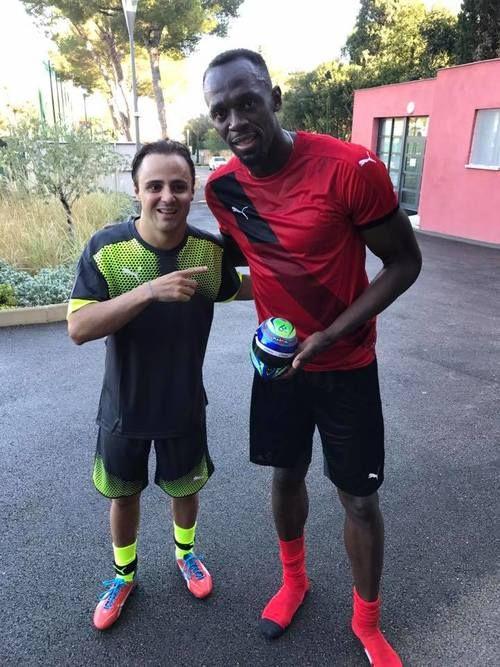 Great meeting F1 star Felipe Massa . Enjoy your retirement 🙌🏽🙌🏽 Usain Bolt, December 2016