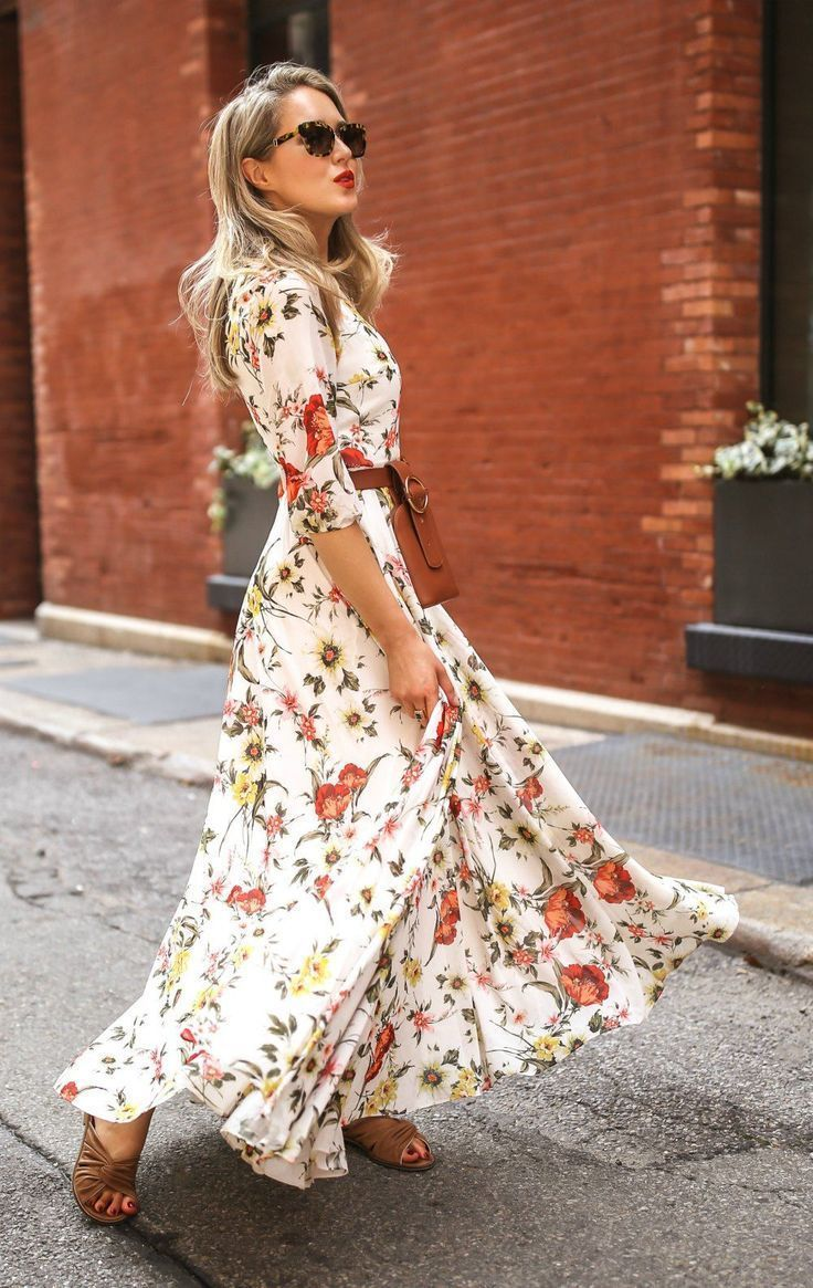 5 Reasons To Wear Maxi Dresses As Much As Humanly Possible Floral Print Maxi Dress With 3 4 Sleeves Brown Leathe Maxi Dress Floral Maxi Dress Modest Dresses [ 1165 x 736 Pixel ]
