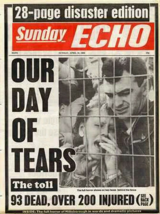 """1989 The Hillsborough disaster was a human crush that caused the deaths of 96 people and injured 766 others, at a football match Liverpool v Nottingham Forest at Hillsborough Stadium, Sheffield,Taylor Report, concluded that """"the main reason for the disaster was the failure of police control dangerous overcrowding outside the ground before kick-off.Police Chief Superintendent David Duckenfield, the senior police officer responsible for the match, ordered an exit gate to be opened."""