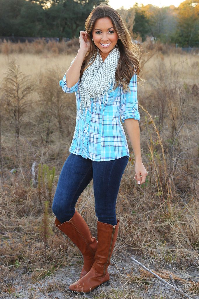 Bright flannel + scarf + jeans+ boots adorable!! ----taylordaviiss nice, i prefer that pictire.