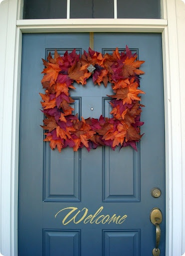 DIY Dollar Tree Wreath - like the idea of a square wreath - use a picture frame for the wreath form I like the welcome