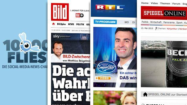 Die neue Top 3 im 10000-Flies-Ranking: Bild vor RTL und Spiegel Online