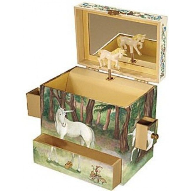 This unicorn music box from #Enchantmints is perfect for protecting all sorts of treasures. There are four drawers in total and the hinged top flips open to reveal a mirror and a twirling white unicorn who circles around to the enchanting music #musicaltoys #musicbox #unicorn #horse