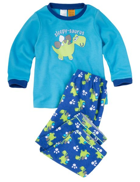 A cute option for bedtime this 100% cotton PJ set includes a long-sleeved top with 'Sleepy-saurus' print, and all-over dino printed  pants.