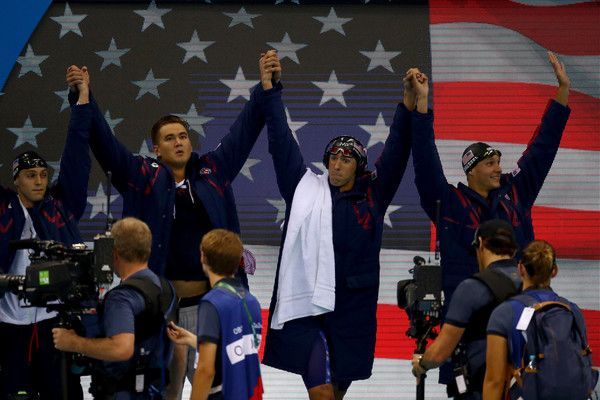 Michael Phelps Photos Photos - Team USA are introduced before the Final of the Men's 4 x 100m Freestyle Relay on Day 2 of the Rio 2016 Olympic Games at the Olympic Aquatics Stadium on August 7, 2016 in Rio de Janeiro, Brazil. - Swimming - Olympics: Day 2