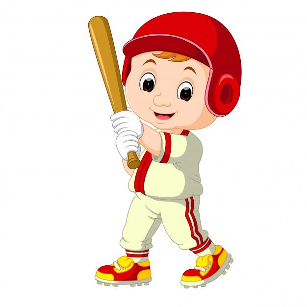 Dibujos Animados De Beisbol Jugador Kid Vector Premium Jugadores De Beisbol Dibujos Animados Ninos Dibujos Animados