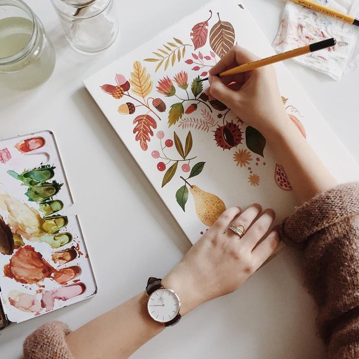 """""""Happy October 1st! I am painting the rainy days away. PS: There are 15 days left to get 15% off your @danielwellington watch, using the code OANABEFORT. ;)"""""""