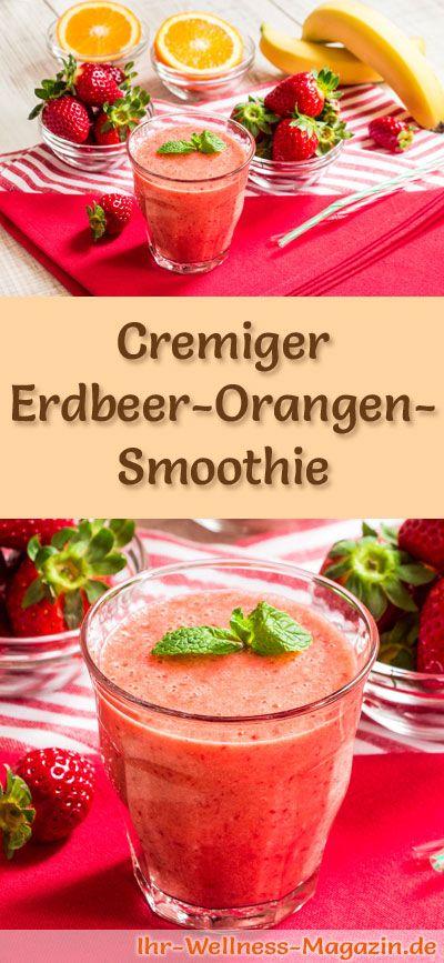 Erdbeer-Orangen-Smoothie selber machen - ein gesundes Smoothie-Rezept zum Abnehmen für Frühstücks-Smoothies oder sättigende Diät-Mahlzeiten ... #Smoothie #abnehmen #lowcarb